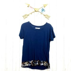Hi Line Sequined Hem Top Sz M